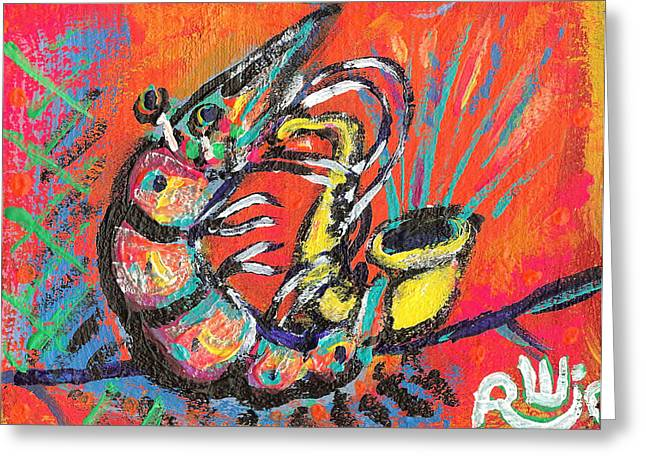 Shrimp Greeting Cards - Shrimp On Sax Greeting Card by Robert Wolverton Jr