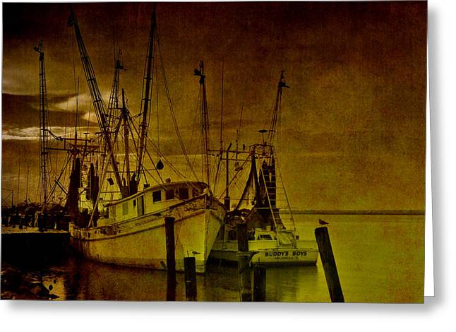 Shrimpboats in Apalachicola  Greeting Card by Susanne Van Hulst