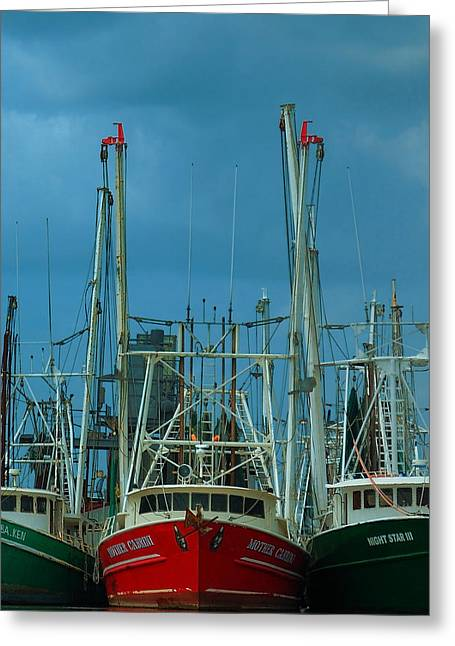 Docked Boats Greeting Cards - Shrimpers Greeting Card by Mark Fuller