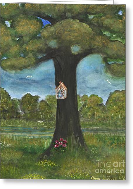 Anna Maciejewska-dyba Greeting Cards - Shrine at the Roadside Greeting Card by Anna Folkartanna Maciejewska-Dyba