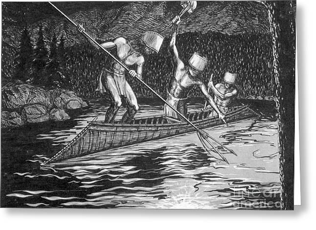 Two Fishing Men Greeting Cards - Shuswap Night Fishing Greeting Card by Photo Researchers