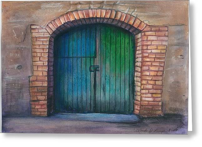 Entrance Door Drawings Greeting Cards - Shut the Door Greeting Card by Linda Nielsen