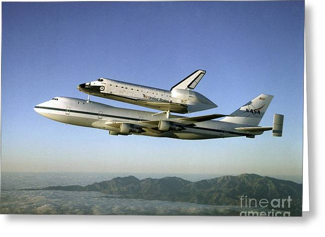 Atlantis Greeting Cards - Shuttle Atlantis Piggyback, Boeing 747 Greeting Card by Nasa