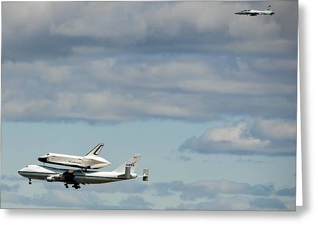 Shuttle Enterprise And Escort Greeting Card by Roni Chastain