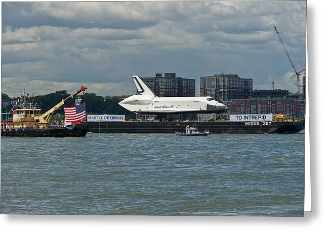 Shuttle Enterprise flag escort Greeting Card by Gary Eason