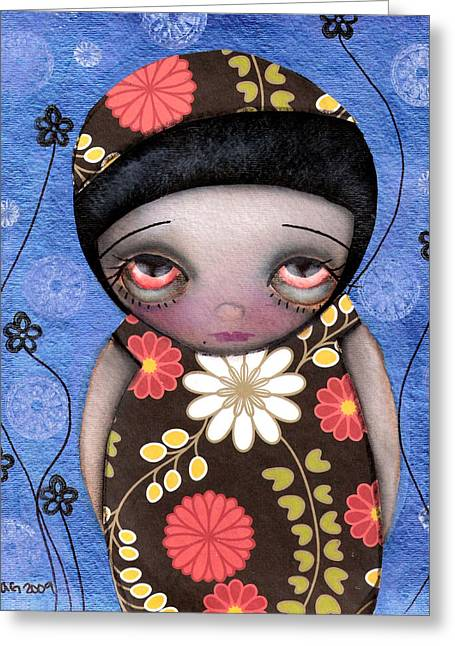 Abril Greeting Cards - Shy Girl Greeting Card by  Abril Andrade Griffith