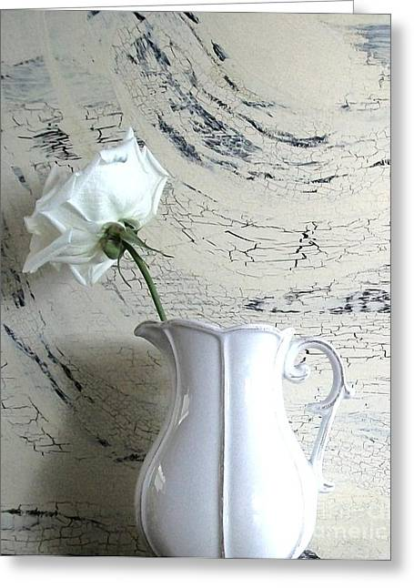 Pitcher Of Roses Greeting Cards - Shy Shabbi Chic Rose Greeting Card by Marsha Heiken