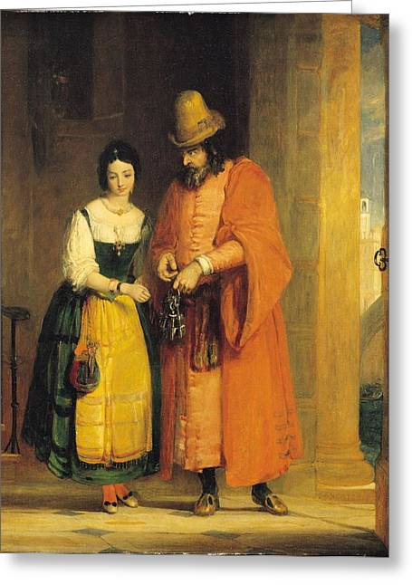 Jessica Photographs Greeting Cards - Shylock and Jessica from The Merchant of Venice Greeting Card by Gilbert Stuart Newton