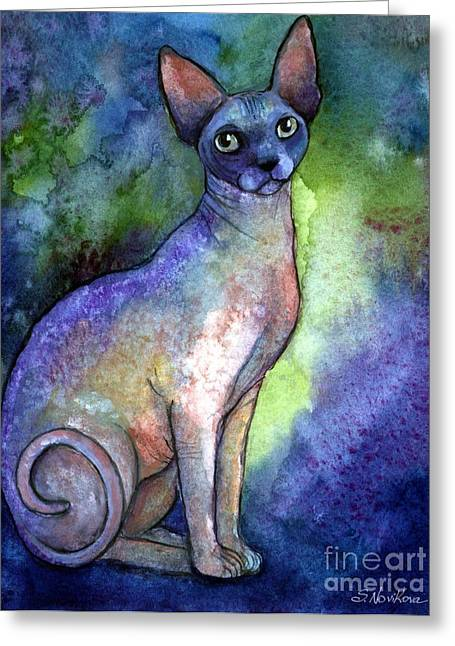 Watercolor Cat Print Greeting Cards - Shynx Cat 2 painting Greeting Card by Svetlana Novikova