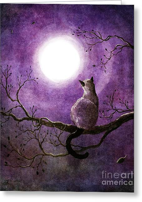 Surreal Cat Landscape Greeting Cards - Siamese Cat Dreaming of Autumn Greeting Card by Laura Iverson