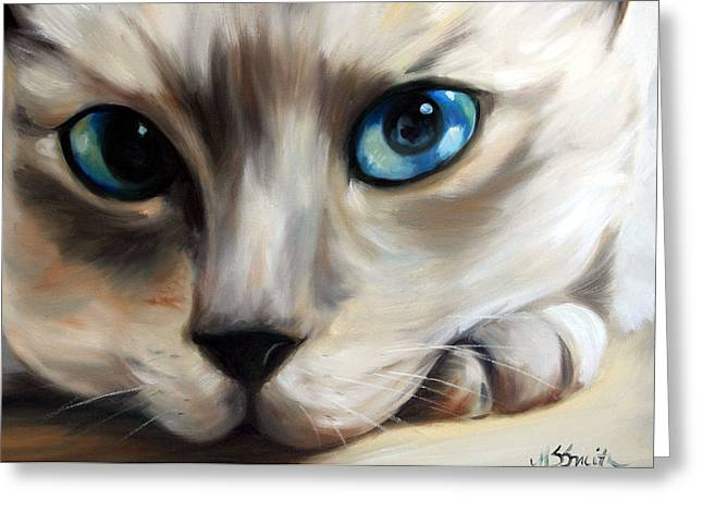 Kitten Prints Pastels Greeting Cards - Siamese Cat Eyes Greeting Card by Mary Sparrow