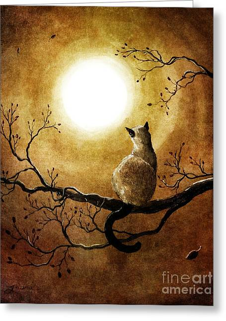 Surreal Cat Landscape Greeting Cards - Siamese Cat in Timeless Autumn Greeting Card by Laura Iverson