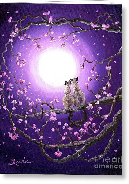Cherry Blossoms Paintings Greeting Cards - Siamese Cats in Pink Blossoms Greeting Card by Laura Iverson