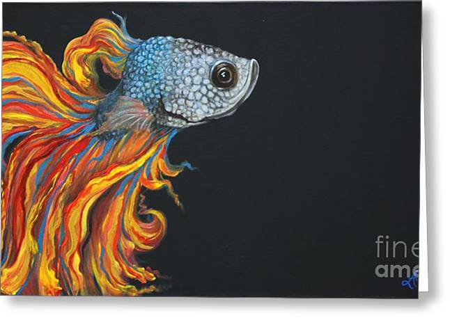 Siamese Fighting Fish Greeting Cards - Siamese Fighting Fish Greeting Card by Audrey Sullivan