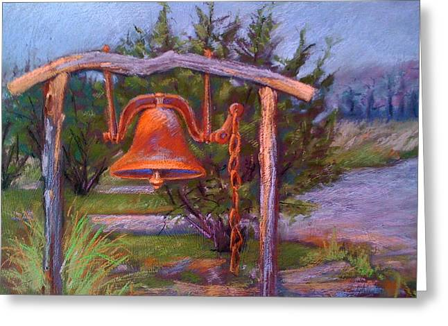 Dinner Pastels Greeting Cards - Sibbys Dinner Bell Greeting Card by Barbara Richert