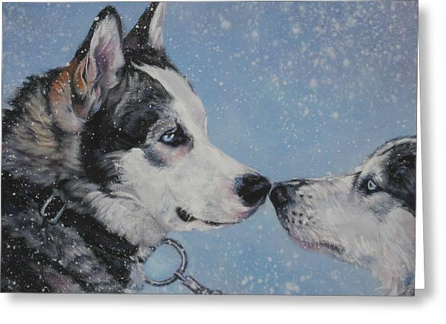 Huskies Greeting Cards - Siberian Huskies in snow Greeting Card by Lee Ann Shepard