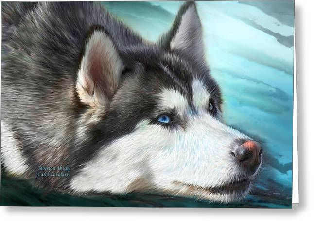Husky Art Greeting Cards - Siberian Husky Greeting Card by Carol Cavalaris