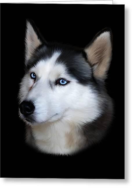 Husky Digital Art Greeting Cards - Siberian Husky Dog Greeting Card by Julie L Hoddinott