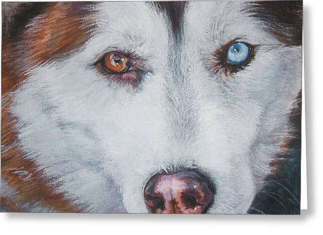 Siberian Husky Greeting Cards - Siberian husky red Greeting Card by Lee Ann Shepard