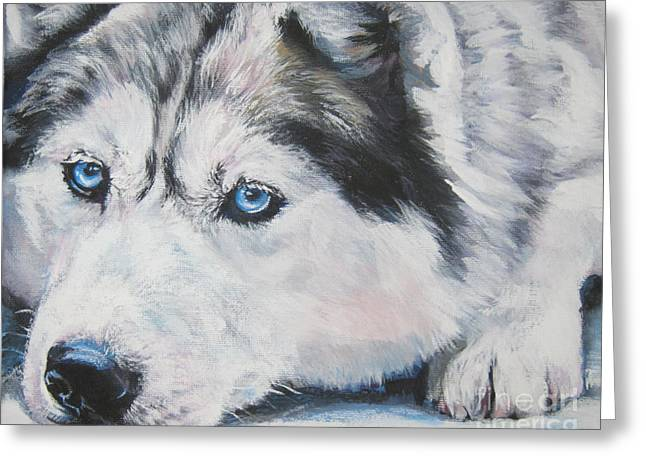 Sled Dogs Greeting Cards - Siberian Husky up close Greeting Card by L A Shepard