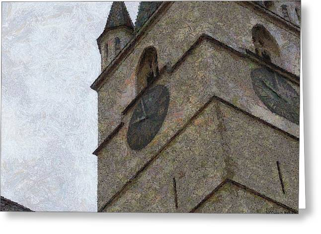 Medieval Clock Greeting Cards - Sibiu Clock Tower Greeting Card by Jeff Kolker