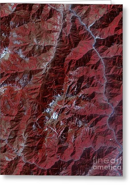 Sichuan Province Greeting Cards - Sichuan Province, Pre-earthquake Greeting Card by Nasa