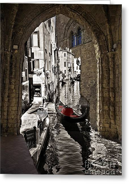 Gondolier Greeting Cards - Sicily Meets Venice Greeting Card by Madeline Ellis