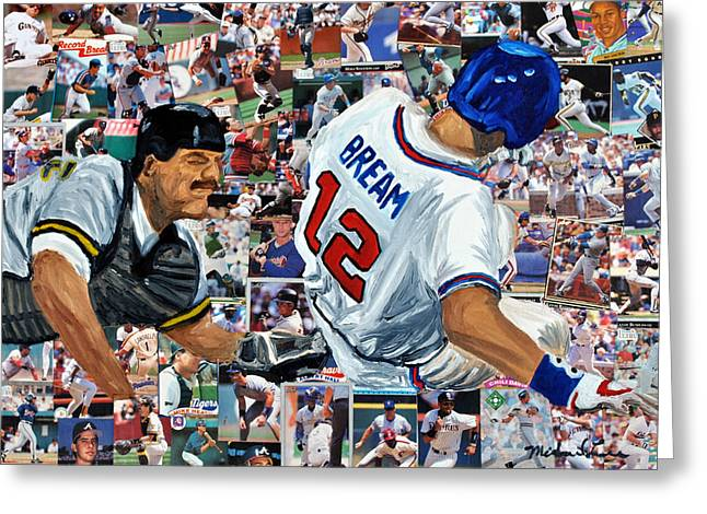 Win Paintings Greeting Cards - Sid Bream Slide Greeting Card by Michael Lee