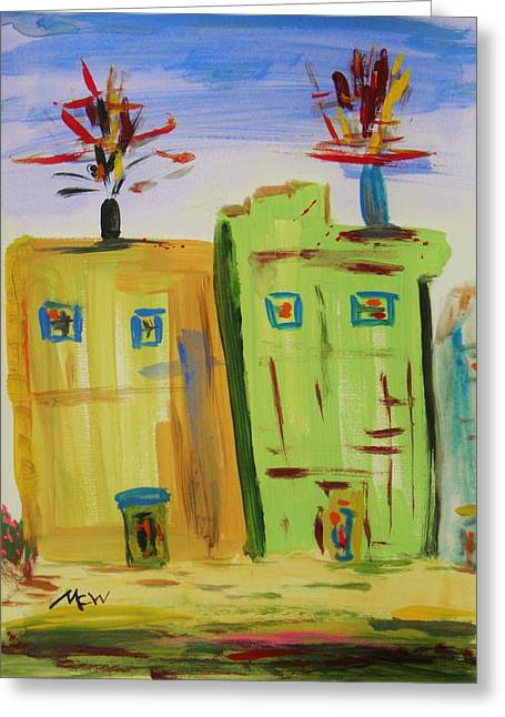 Stack Drawings Greeting Cards - Side by Side Furnaces Greeting Card by Mary Carol Williams