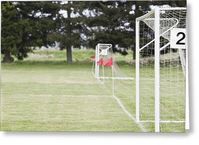 Next To Tree Greeting Cards - Side by Side Soccer Goal Nets Greeting Card by Jetta Productions, Inc