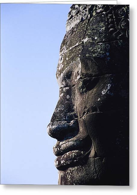 Indochinese Architecture And Art Greeting Cards - Side Profile Of Of The Face Greeting Card by Gina Martin