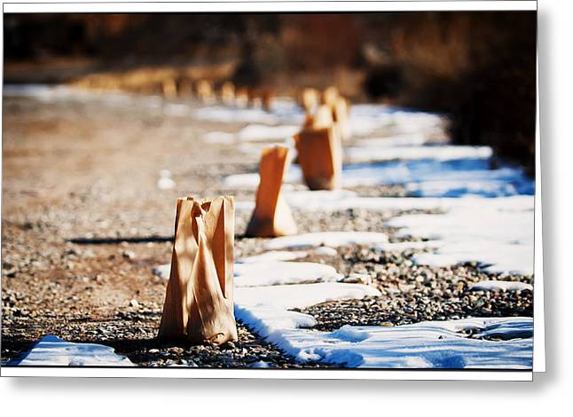 Bags With Candles Greeting Cards - Side Road Luminaries Greeting Card by Lisa  Spencer