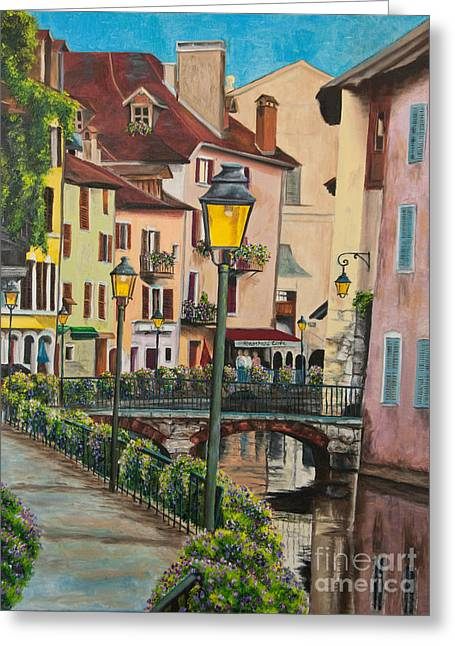 Village In France Greeting Cards - Side Streets in Annecy Greeting Card by Charlotte Blanchard