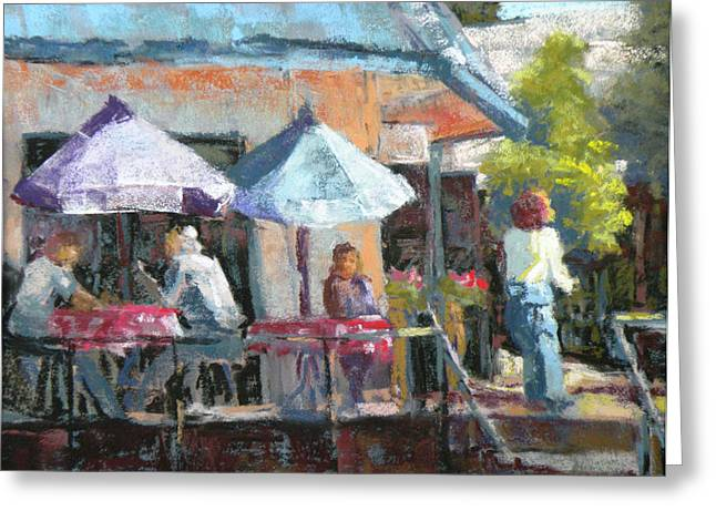 Umbrellas Pastels Greeting Cards - Sideewalk Cafe Greeting Card by Jo Ann Sullivan