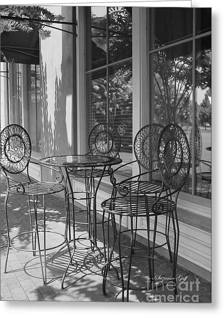 Table And Chairs Greeting Cards - Sidewalk Cafe - Afternoon Shadows Greeting Card by Suzanne Gaff