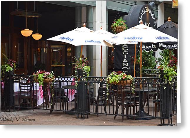 Patio Table And Chairs Photographs Greeting Cards - Sidewalk Cafe Denver Greeting Card by Wendy Hansen-Penman