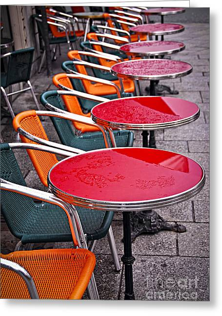 Drop Greeting Cards - Sidewalk cafe in Paris Greeting Card by Elena Elisseeva