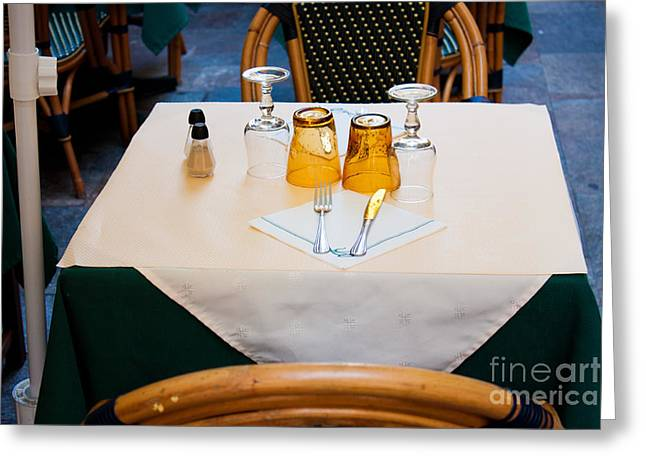 Villefranche Greeting Cards - Sidewalk Cafe Table Setting Greeting Card by Thomas Marchessault