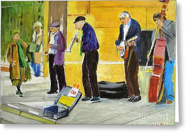 Musician Greeting Cards - Sidewalk Serenade Greeting Card by Judy Kay