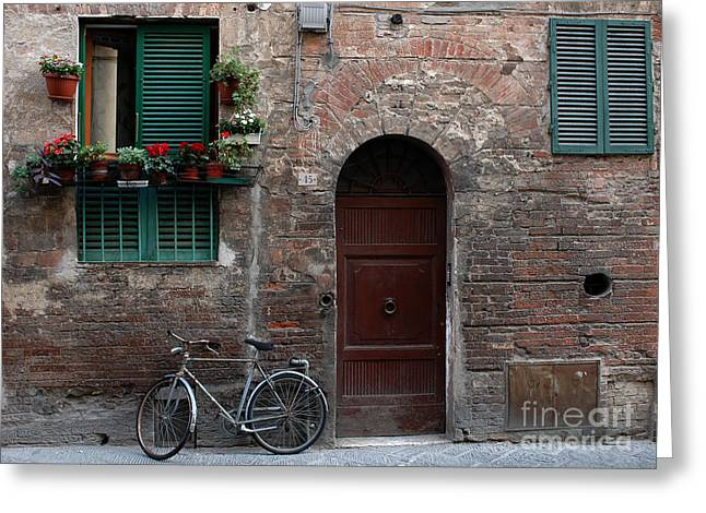 Sienna Italy Greeting Cards - Siena bicycle Greeting Card by Mike Nellums