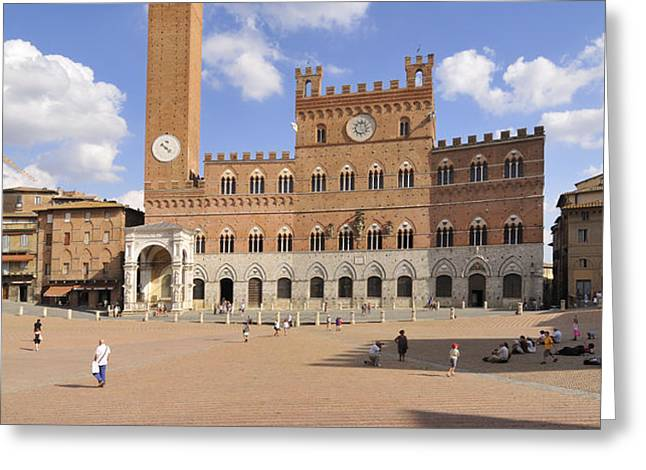 Siena Italy - Piazza del Campo with Palazzo Pubblico Greeting Card by Matthias Hauser