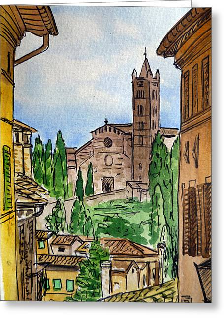 Siena Italy Greeting Cards - Siena Italy Greeting Card by Irina Sztukowski