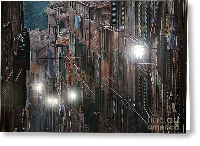 Siena Italy Greeting Cards - Siena street lamps Greeting Card by Jim Wright