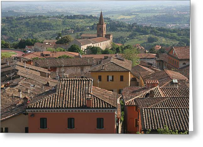 Siena Italy Greeting Cards - Sienna Rooftops Greeting Card by Tom Reynen