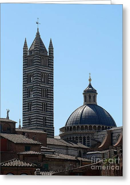 Sienna Italy Greeting Cards - Siennas Duomo Greeting Card by Elizabeth Fontaine-Barr