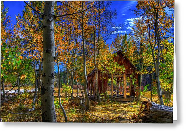 Limited Colors Greeting Cards - Sierra Nevada Fall Colors Barn Greeting Card by Scott McGuire