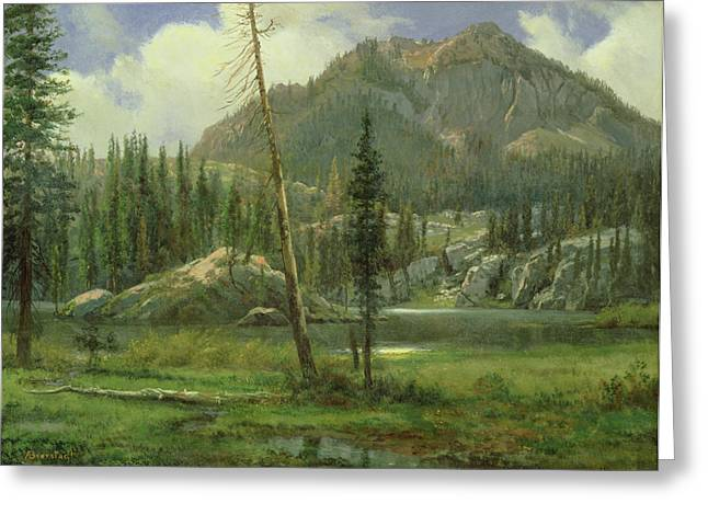 Bierstadt Greeting Cards - Sierra Nevada Mountains Greeting Card by Albert Bierstadt