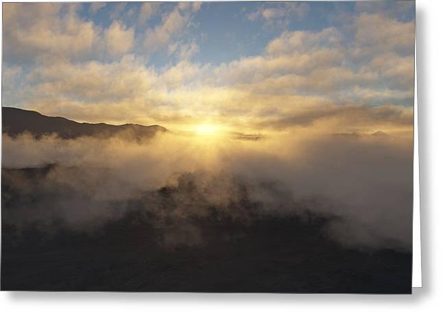 Cloud Digital Art Greeting Cards - Sierra Sunrise Greeting Card by Mark Greenberg