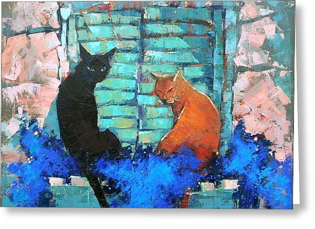 Black Cat Landscape Greeting Cards - Siesta Greeting Card by Anastasija Kraineva