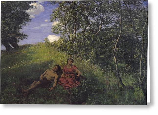 Reverie Paintings Greeting Cards - Siesta Greeting Card by Hans Thoma